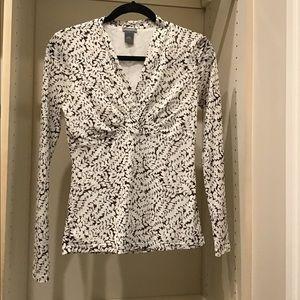 Ann Taylor long sleeve blouse white/ brown leaves